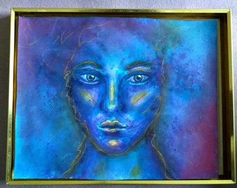 The blue girl - mixed media, Aquarell and Pastels on Paper
