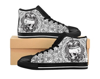 5f71d5e885d0 Black   White Skull Grudge Men s High-top Sneakers