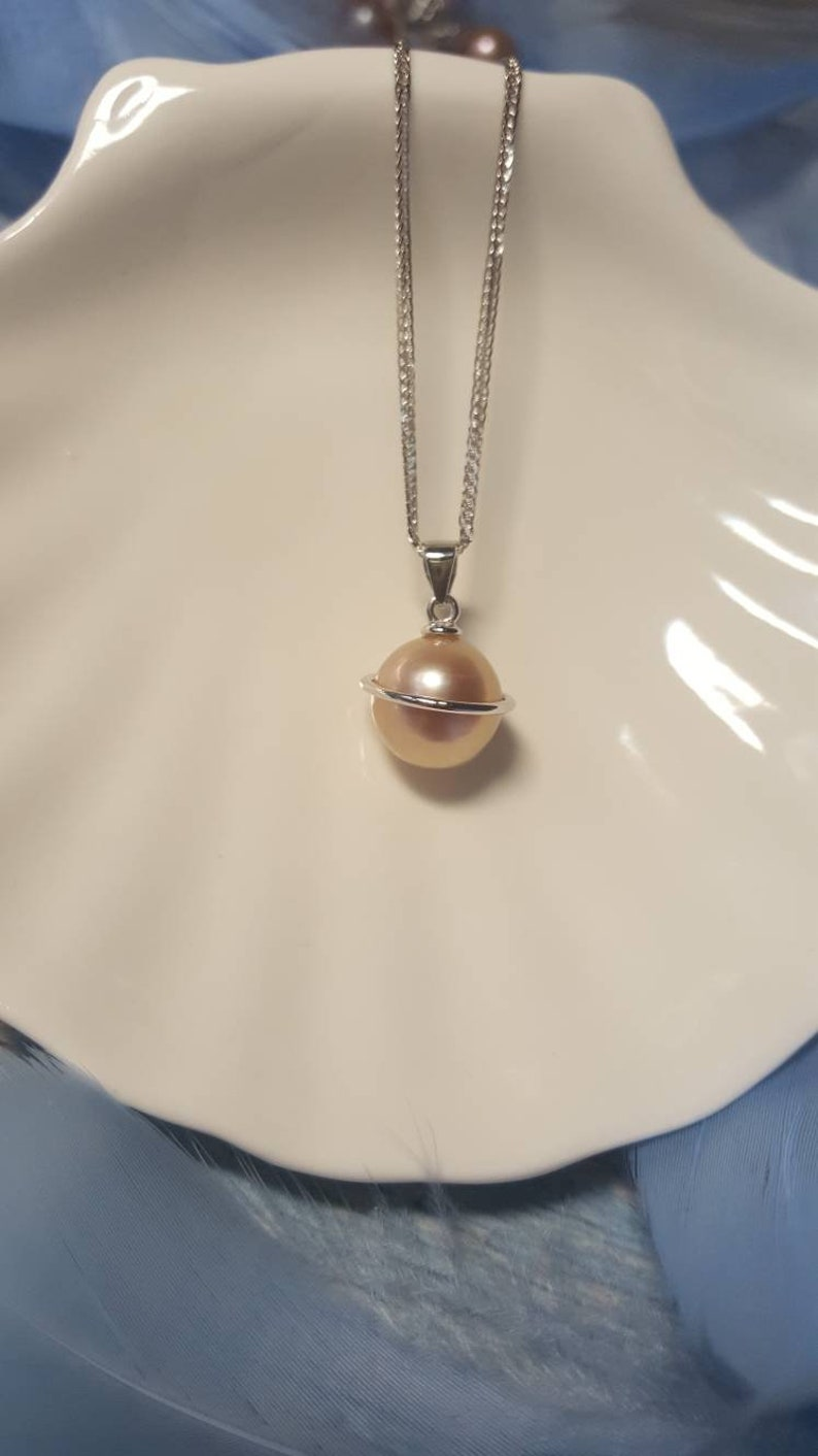 Thanksgiving Christmas Gift Pearl Pendant Big Freshwater Pearl Edison pearl 925 sterling silver pendant Pearl Jewelry