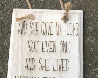 Wooden quote hanging plaque, swearing quote, cheeky words gift, hanging decorations, wooden wall art, quote gifts, handmade quote, hanging