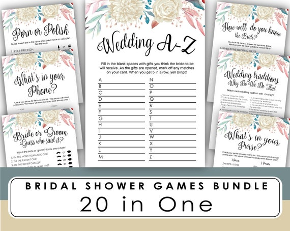 Bridal Shower Game Printable Wedding A Z Bridal Shower Games Etsy