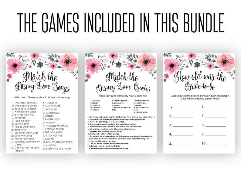 graphic regarding Guess the Disney Movie Song Printable referred to as Bridal Shower Video games Printable . Game the Video clip Take pleasure in Estimates Match . Fast Down load . Passionate motion pictures matching trivia . Wedding ceremony Shower game titles