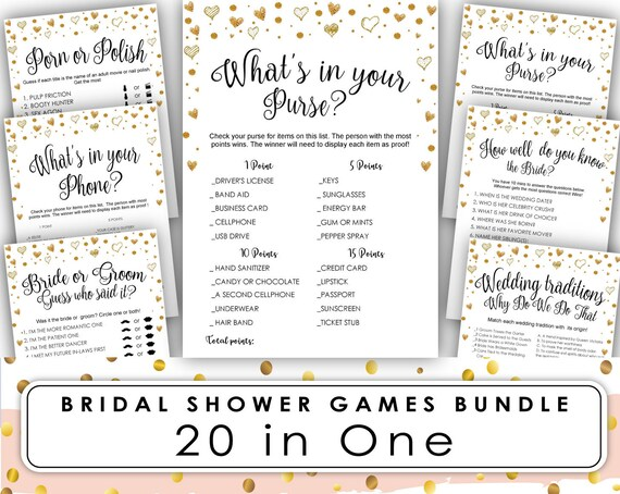 Whats in Your Purse Bridal Shower Game   Bridal Shower Games Printable    Bridal Shower Games   free   Pink Peonies Instant Download