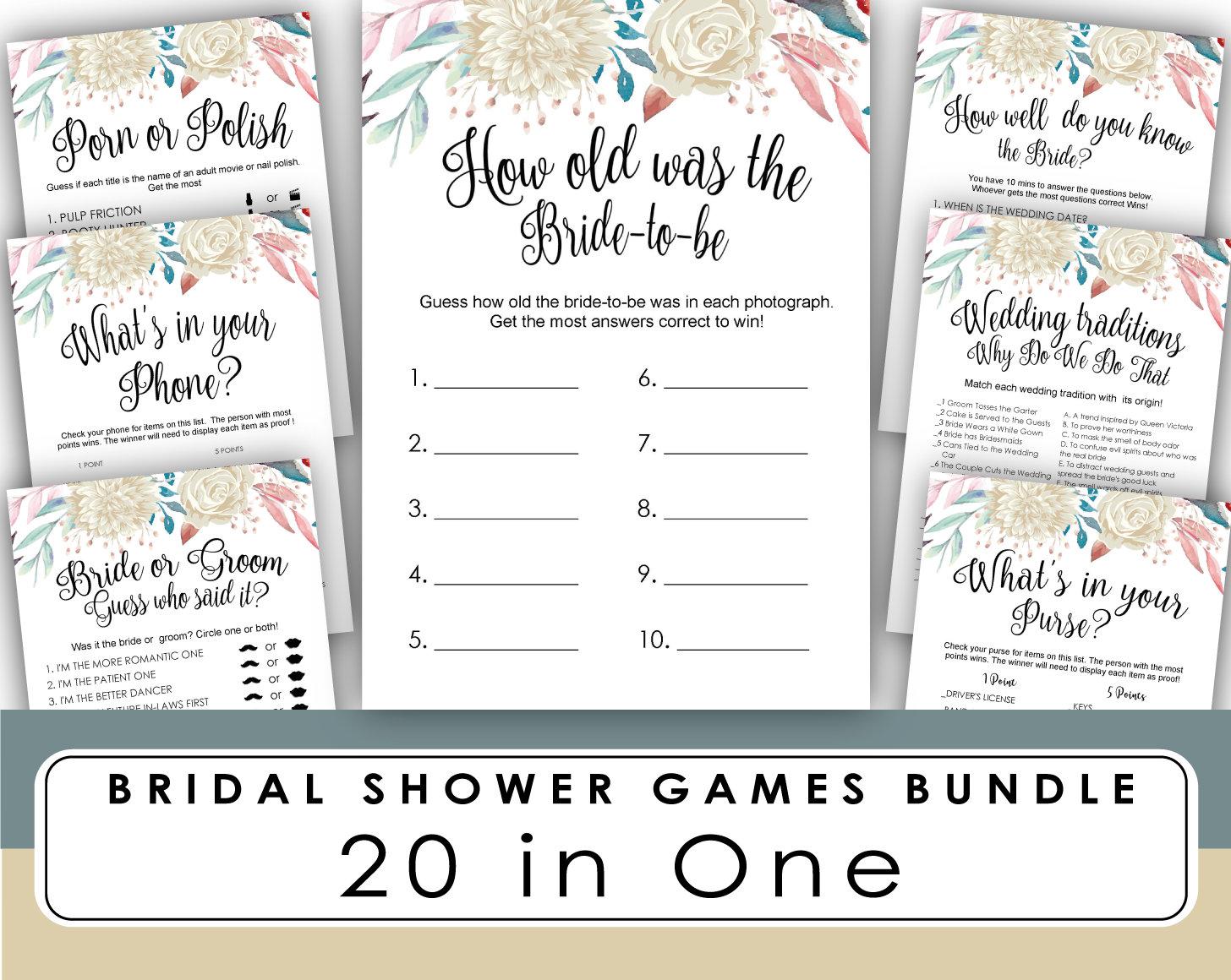 Bridal Shower Games Printable   Bridal Shower Games How old game   Romantic  bachelorette party   Wedding Shower games Disney
