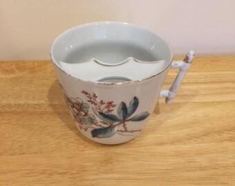 Vintage Moustache Cup Floral Design