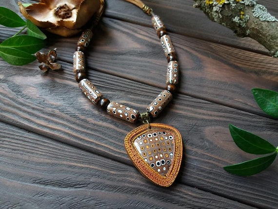 STATEMENT Long Big Large Metal Rustic Gold Chunky Leaf Choker Pendant Necklace