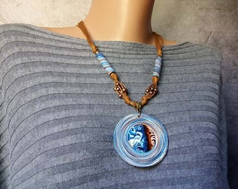 Bright blue denim space pendant necklace Statement boho beads necklace for women Large ethnic designer jewelry of polymer clay Birthday gift