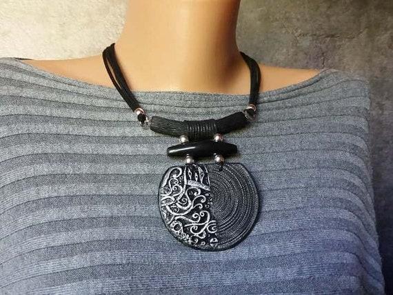 Silver Black Necklace Pendant Big Chunky African Bold Boho Statement Huge Large Bib Modern Jewelry Polymer clay Unusual