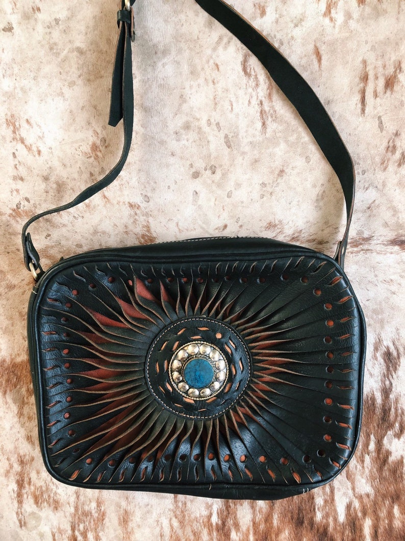38e14b4e3e Black Leather Purse   Boho Leather Crossbody   Western Handbag