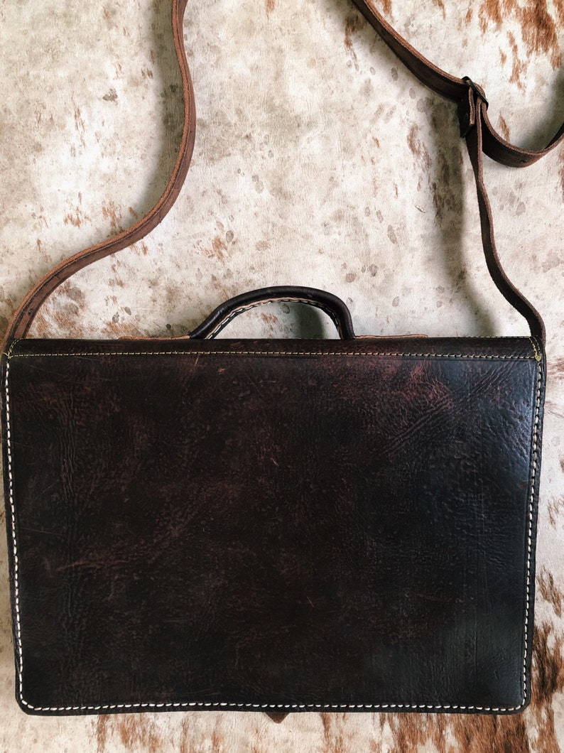 Brown Leather Briefcase  Leather Laptop Bag  Leather Crossbody  Work Bag  Men/'s Leather Shoulder Bag Gift for Her Him Distressed Leather