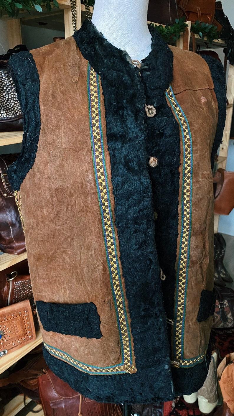 Vintage 70s Afghan Coat  Hippie Waistcoat  Suede Lammy Vest  Winter Gilet  Boho Jacket  Penny Lane Coat  Bohemian  Shearling Vest