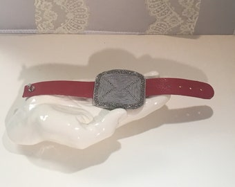 Red Leather Vintage Silver Beaded Buckle Bracelet
