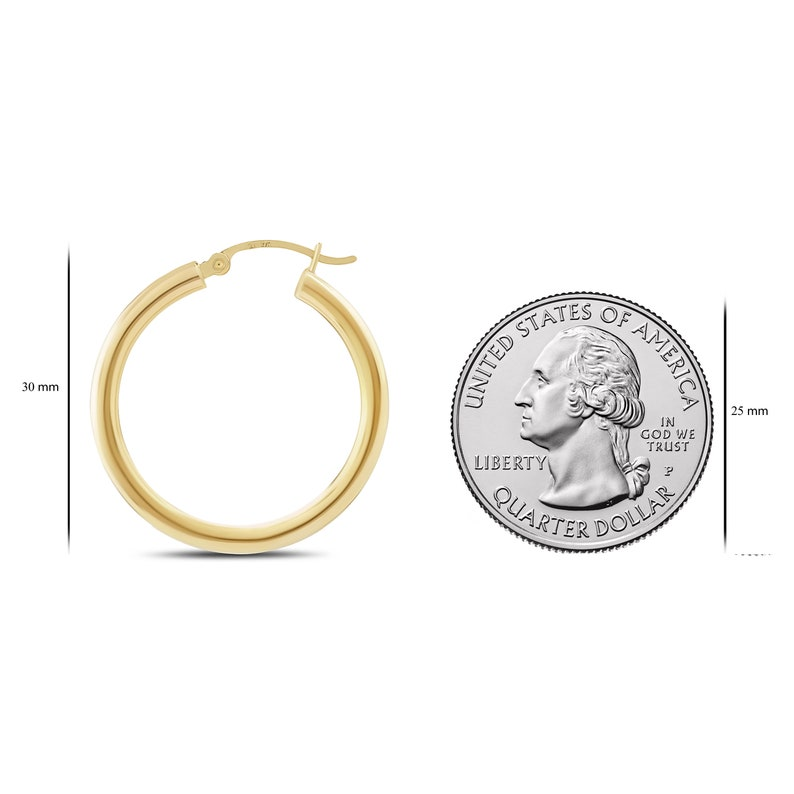 3mm Thick x 15-20mm Diameters 14K Hinged Premium Yellow Gold Hoops Fashion Earring for Woman