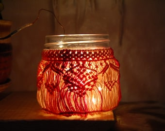 Peach Candy Micro Macrame Light Jar