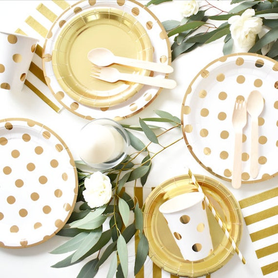 Christmas Paper Plates And Napkins.40 Pcs Gold Paper Plates Cups Napkins Tableware For Christmas New Year Wedding Baby Showers Or Birthday