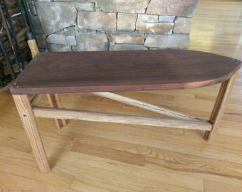 Handcrafted Oak and Walnut 3 Legged Deco Stool