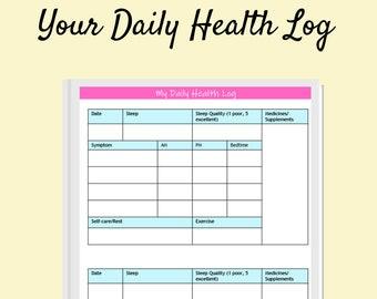 Your Daily Health Symptom Log | Fibromyalgia Symptom Tracker Log