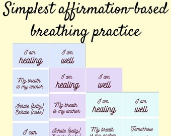 Positive healing affirmations for simple breathing practice, digital download affirmation cards