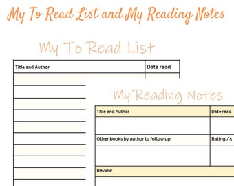 My Reading Log Kit - Reading Notes and To Read List - for folders or bullet journals
