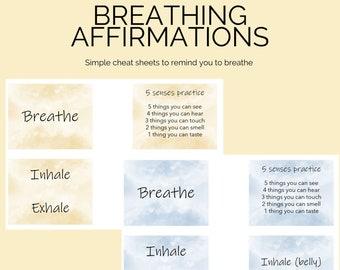 Breathing affirmations, self-care cards, DIY digital download