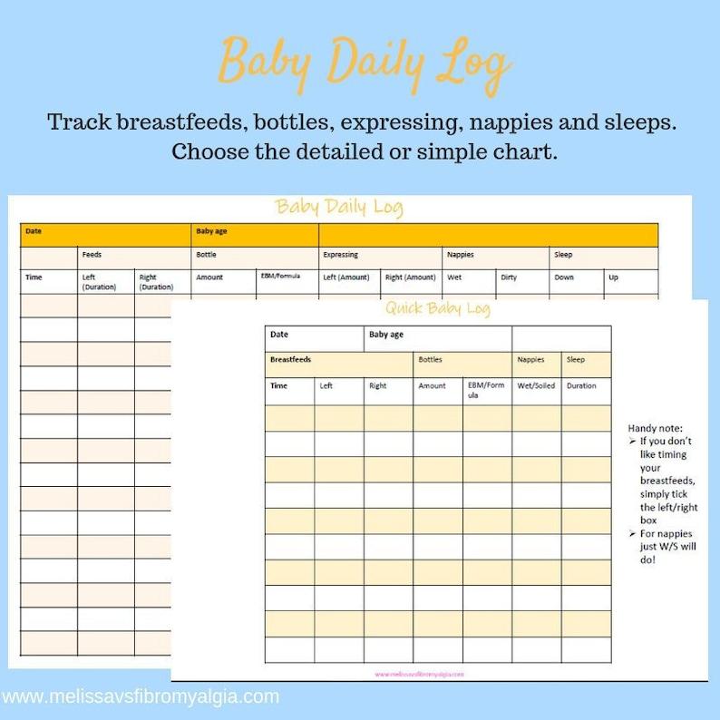 Baby Feeding Chart   Breastfeeding Log Baby Log Baby Feeding Chart Simple And Etsy
