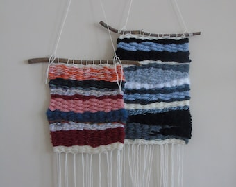 Handwoven wool wall hanging - monochrome