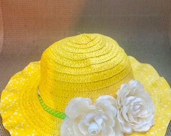5898727e3d73d5 Yellow flower design straw sun hat