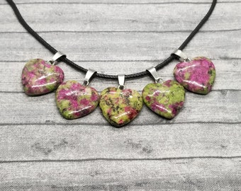 Valentine's Necklace Pendant, Heart Pendant, Valentine's Necklace, Valentine's Pendant, Ruby in Zoisite Pendant, Crystal Pendant Jewelry