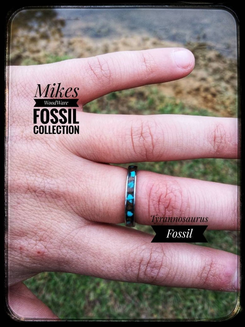 Fossil Ring Dinosaur Turquoise Dinosaur Ring Stainless Steel Ring with Turquoise and Tyrannosaurus Rex Fossil Inlay T-Rex Valentine