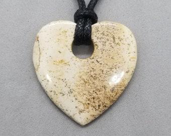Picture Jasper Heart Pendant, Heart Pendant, Picture Jasper, Picture Jasper Heart Necklace, Agate Heart Pendant Necklace Agate Jewelry