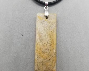Chrysanthemum Fossil Pendant, Coral Pendant, Fossilized Coral Necklace, Coral, Fossil Pendant, Coral Pendant, Agitized Coral Necklace