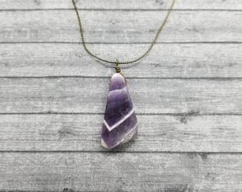 Amethyst Pendant Necklace, Amethyst Pendant, Amethyst Necklace, Freeform, Amethyst Jewelry, Wire Wrapped Amethyst Pendant, Agate Jewelry