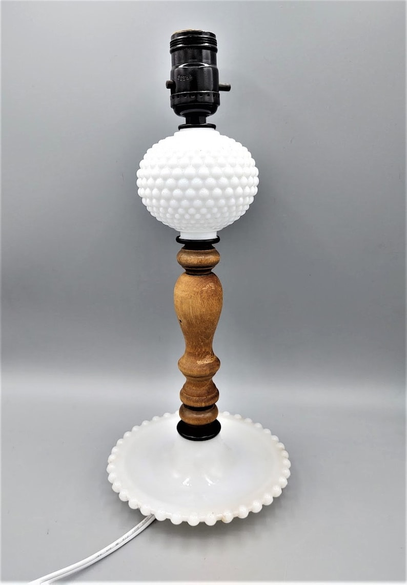 Vintage Mid-Century Hobnail Accent Lamp White Milk Glass wTurned Wood Shaft