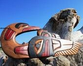 First Nations Pacific Northwest native cedar Mother Loon with Baby, superb quality wall art carving, signed, Indigenous Art
