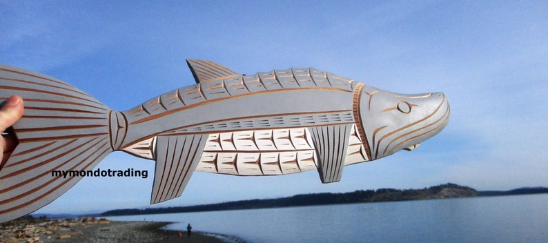 First Nations Pacific Northwest coast native red cedar STURGEON hand carved Art signed wall art carving