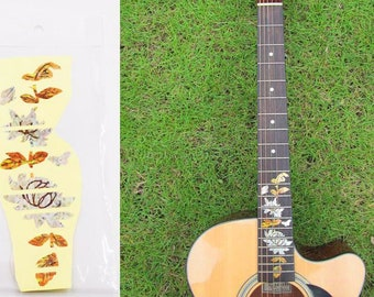 The Butterfly Lingers Over The Flower Guitar Stickers, Guitar Fingerboard Stickers, Guitar Fingerboards, Guitar Head Decals