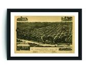 Vintage Tuscaloosa Print, Aerial Tuscaloosa Photo, Vintage Tuscaloosa AL Pic, Old Tuscaloosa Photo, Tuscaloosa Alabama Poster, 1887