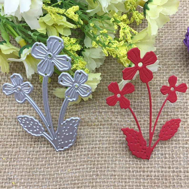 Stamp with Die Flower for DIY Scrapbooking Leaves Metal Cutting Dies Card Making