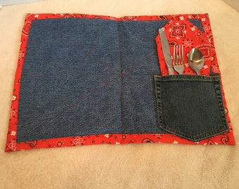 PLACEMAT & NAPKIN upcycled jeans