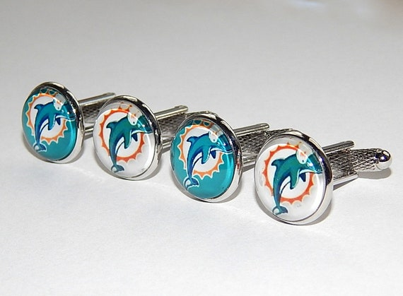 Miami D.olphins 15mm Football Logo Cuff Links Best Jewelry Gift for Fans Personalized Cufflinks for Wedding