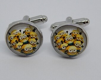 Minions Cufflinks, Minions jewelry, Minions Movie, Minions patch, wedding cufflinks, groomsmen cufflinks, gift for her