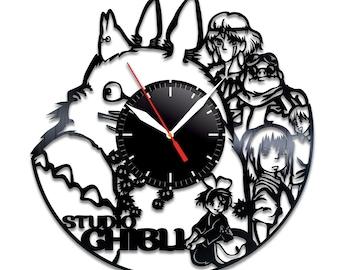 Studio Ghibli vinyl clock Studio Ghibli wall clock Studio Ghibl decor Studio Ghibli wall poster Studio Ghibli cartoon Studio Ghibli fan gift