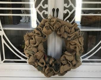 Coffee sack wreath