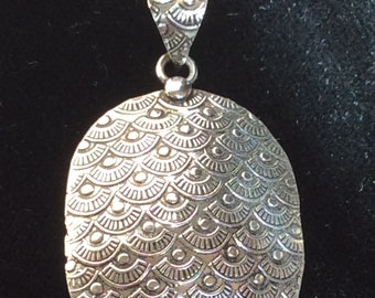Sterling Silver Oval Pendant - Textured and Antiqued