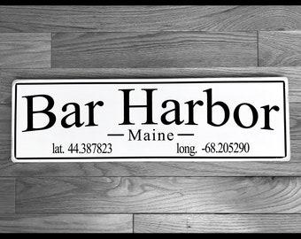 Bar Harbor, Maine Wood Sign / Mount Desert Island / Handmade / Maine Gift / Acadia National Park / Wall Decoration / Wedding Gift