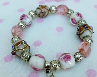 Lamp work and glass bead stretch bracelet