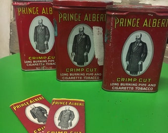 Vintage Prince Albert Tobacco Tin Set with Rolling Papers