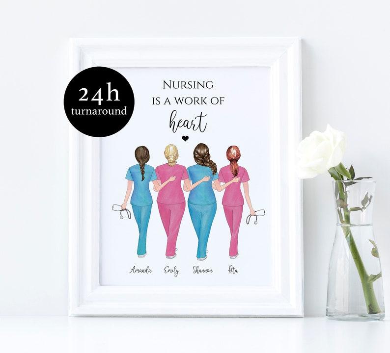 Nurse Squad Print Custom Nurse Print Scrub Life Midwife Gift Nurse Best Friend Present Nurse Life Personalized Nurse Graduation Gift