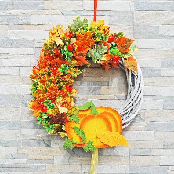 Pumpkin Front Door: Fall Pumpkin Wreath For Front Door Autumn Leaves Decor