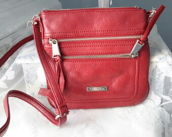 Vintage Red Calvin Klein Satchel Purse, Red Bag, Red Leather Purse, Crossbody Bag